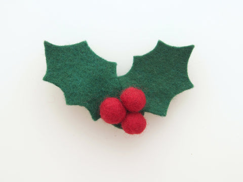Wool Blend Felt Holly Hair Clip