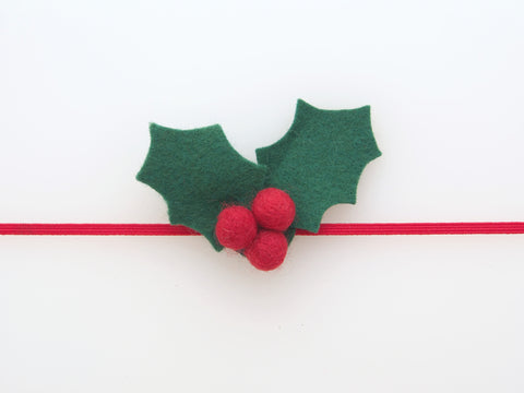 Wool Blend Felt Holly Skinny Elastic Headband