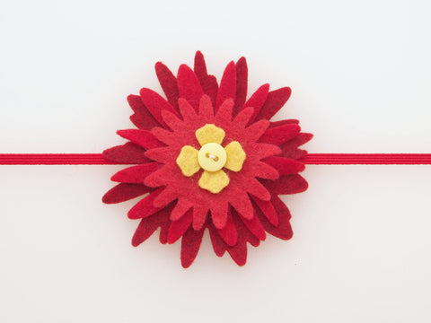 Wool Blend Felt Poinsettia Skinny Elastic Headband