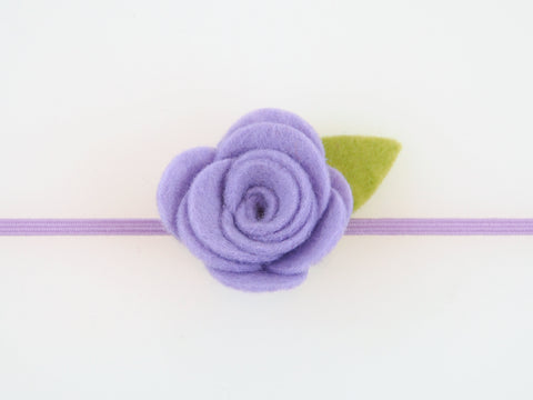 Wool Blend Felt Single Flower Skinny Elastic Headband (BHBS)