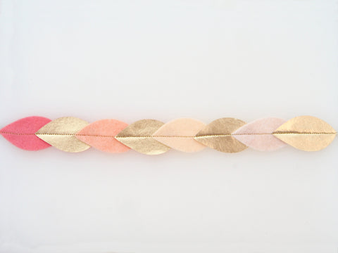 Wool Blend Felt Gilded Leaves Headband (GHBL)