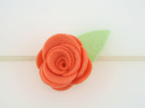 100% Wool Felt Single Flower Skinny Elastic Headband (WHBS)