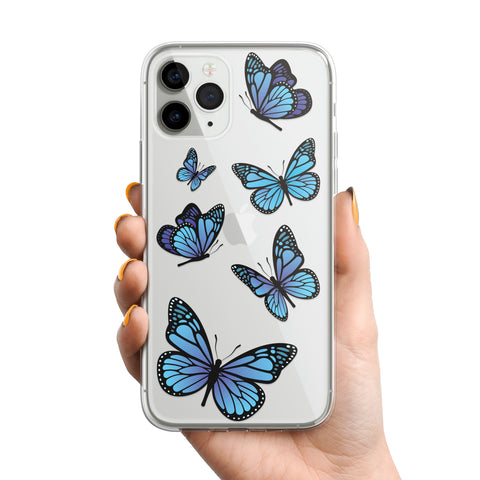 Blue Butterfly Pattern Phone Case