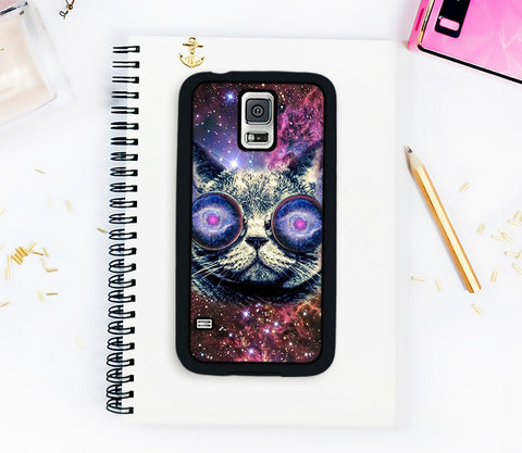 Galaxy S5 Case Cat Phone Case Samsung Galaxy S5 Case Cat Outer Space Galactic Cat Nebula Galaxy S4 Case Note 4 Case Note 5 Case Trippy Case