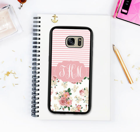 Cute Galaxy S8 Case Flower Pattern Samsung Galaxy S8 Plus Custom Monogram Case Personalized Galaxy S7 Galaxy S7 Edge Note 8 Valentines Gift