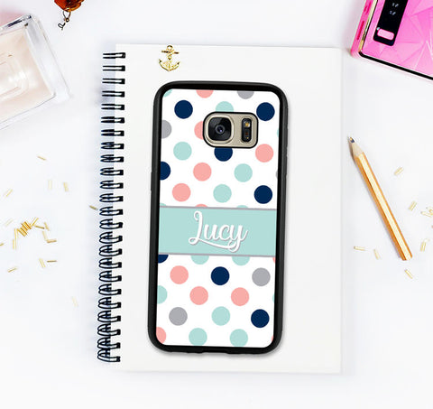 Galaxy S8 Case Galaxy S8 Plus Custom Monogram Personalized Cute Girly Galaxy S7 Galaxy S7 Edge Note 8 Pastel Polka Dots Valentines Day Gift