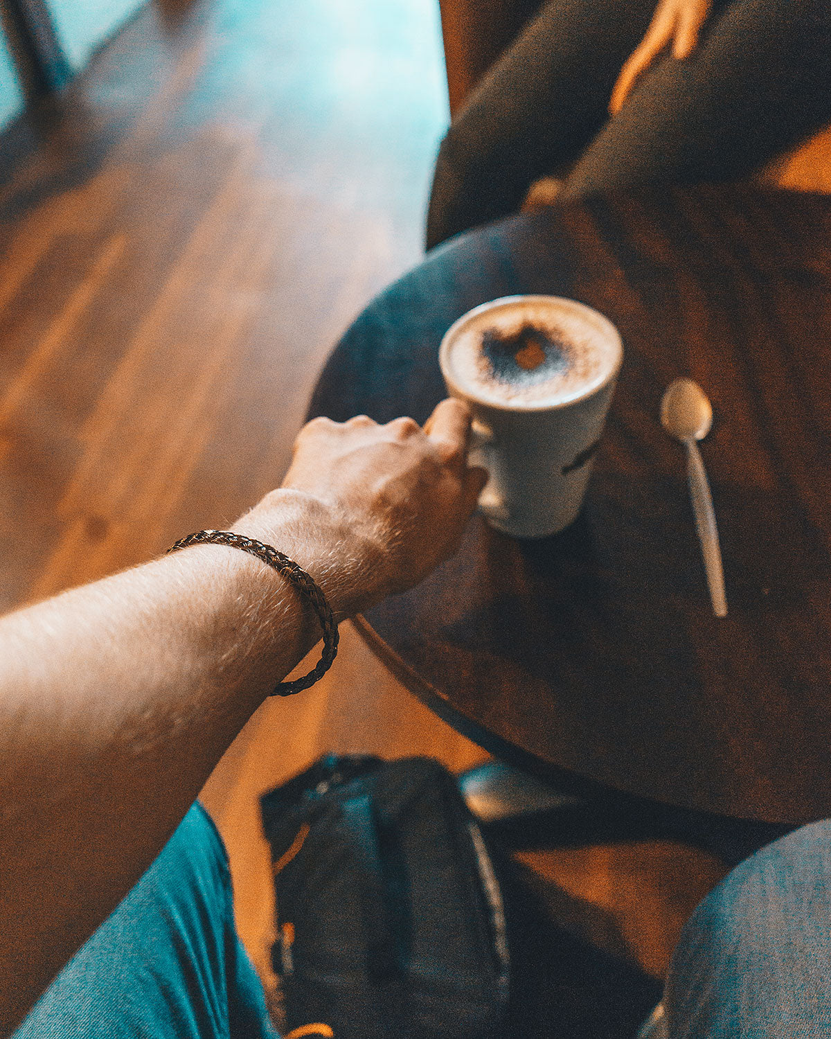 vario woven metal bracelet and coffee