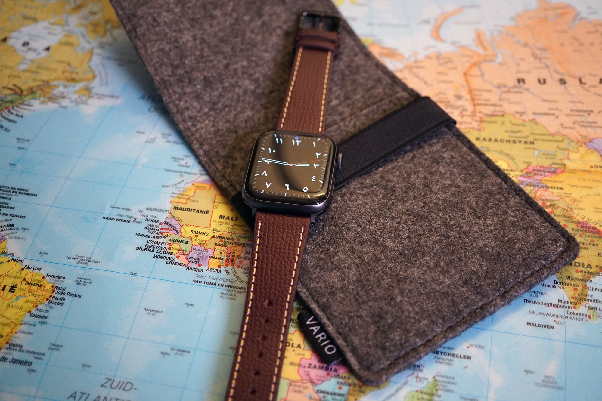 vario italian leather watch strap on apple watch