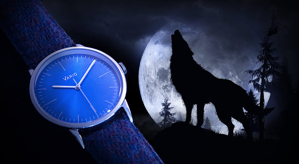 vario eclipse watch with hound and moon