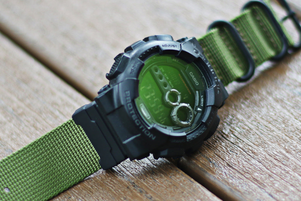 Casio G-Shock GD100 with 24mm ballistic nylon strap and nato adapter