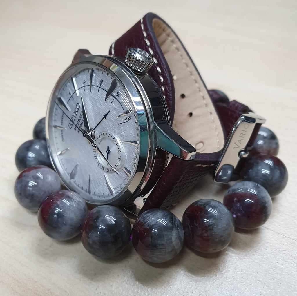 seiko presage with vario leather watch strap