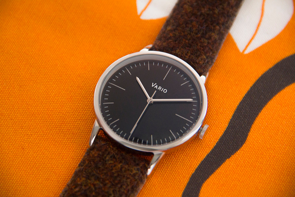 vario eclipse black dress watch with brown harris tweed strap