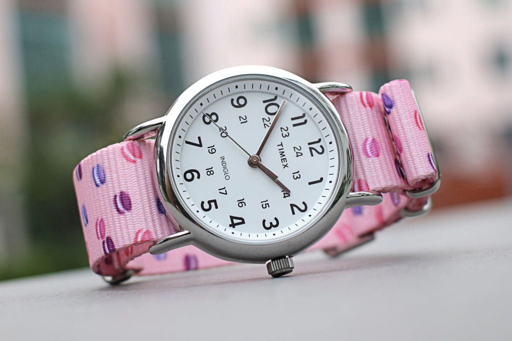vario macaron dots graphic nato strap with timex weekender