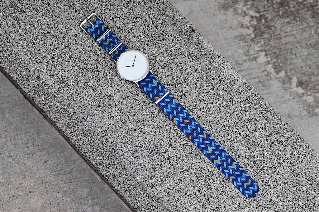 vario design nato strap ocean chevron with minimalist watch