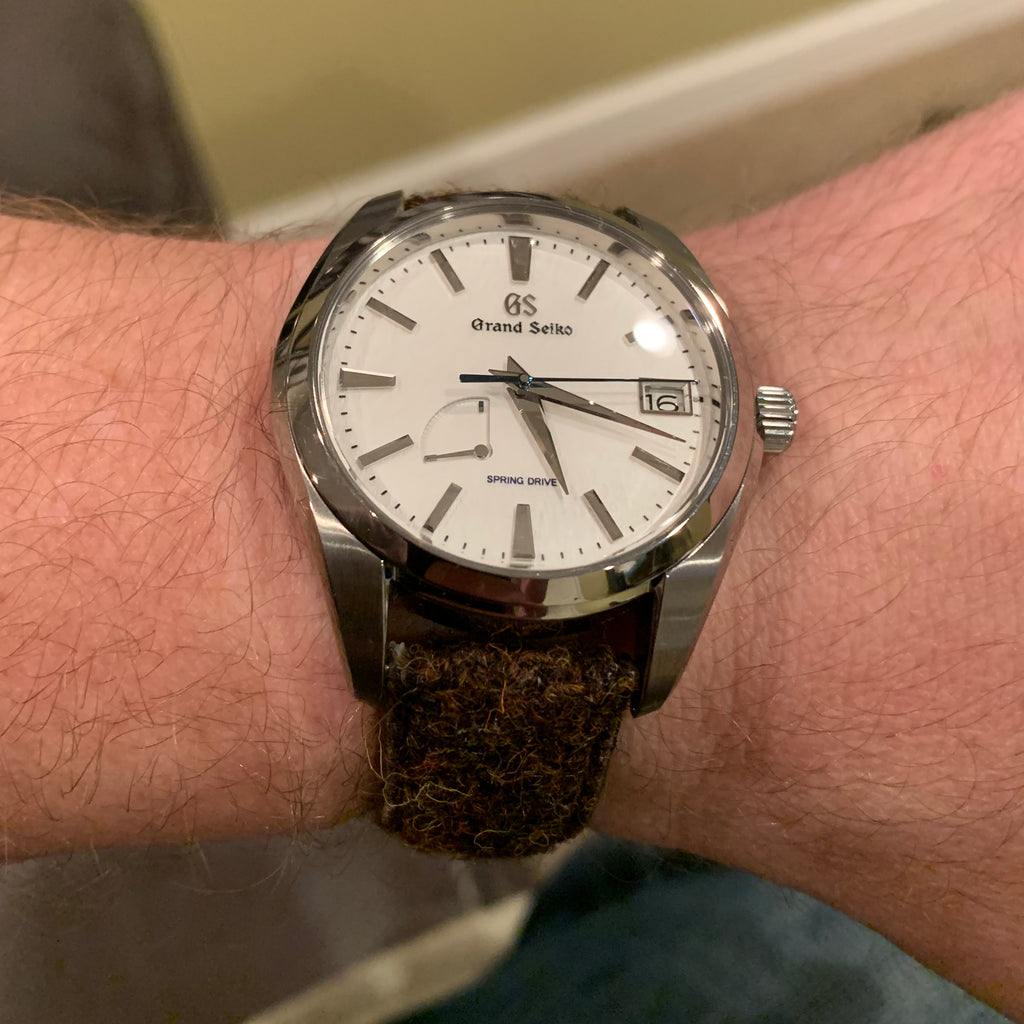 vario harris tweed watch strap on grand seiko