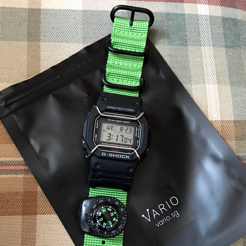 G-Shock DW5600 with Vario ballistic nato strap and compass by #varioeveryday member Albert