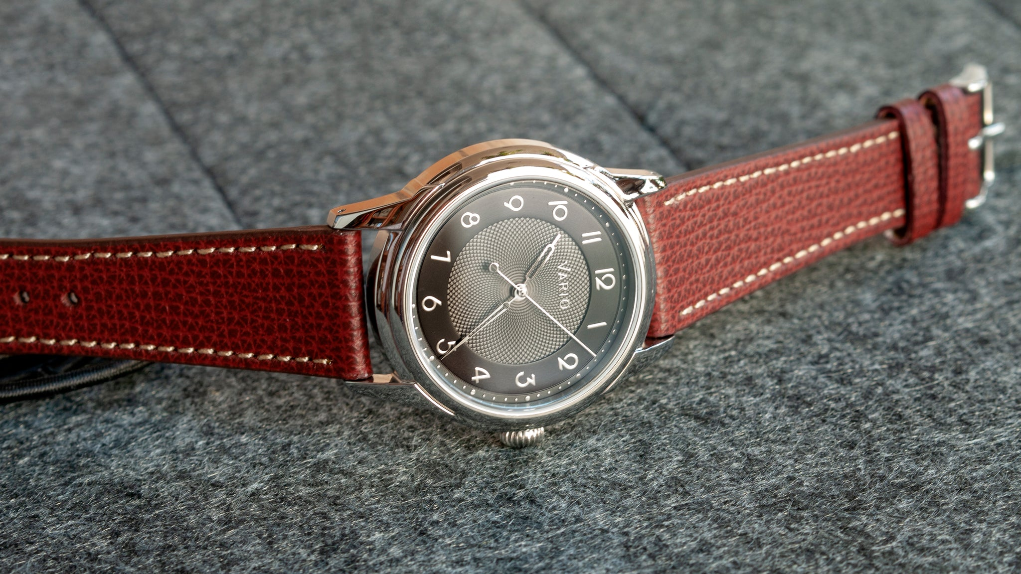 vario empire watch with italian leather watch strap