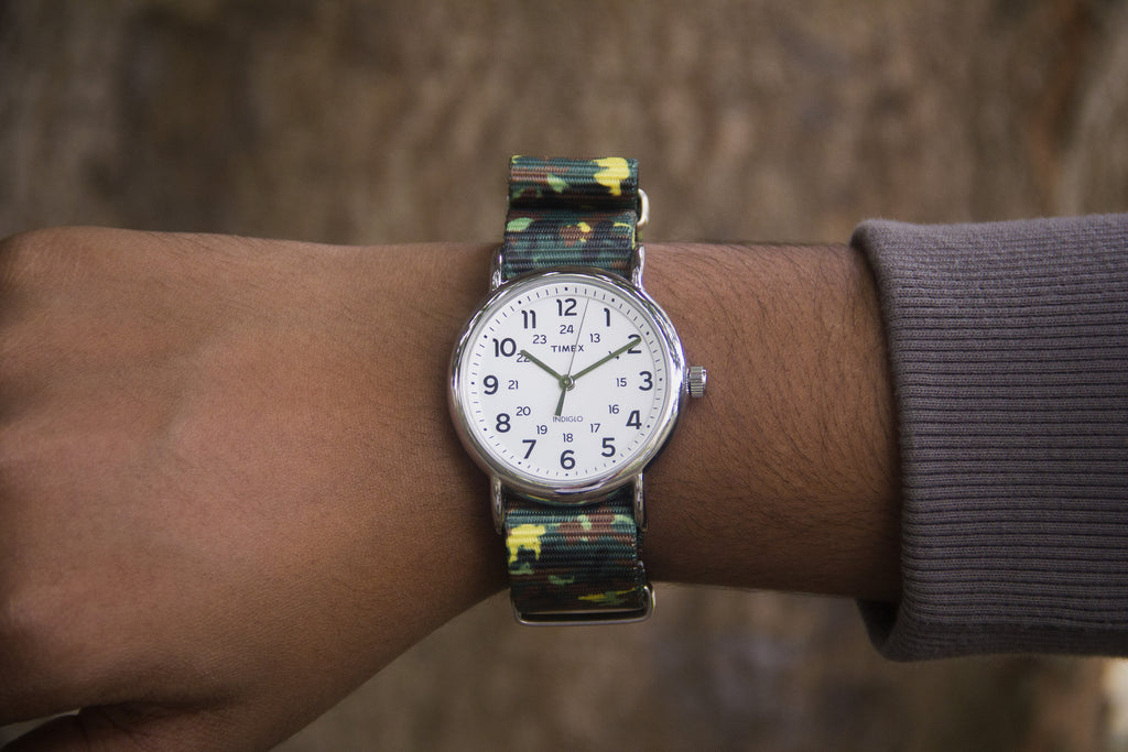 vario camo green graphic nato strap with timex weekender
