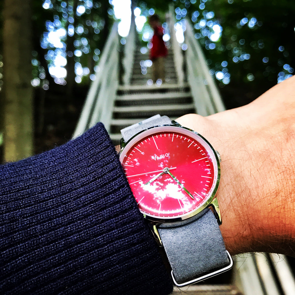 vario eclipse red handwound watch