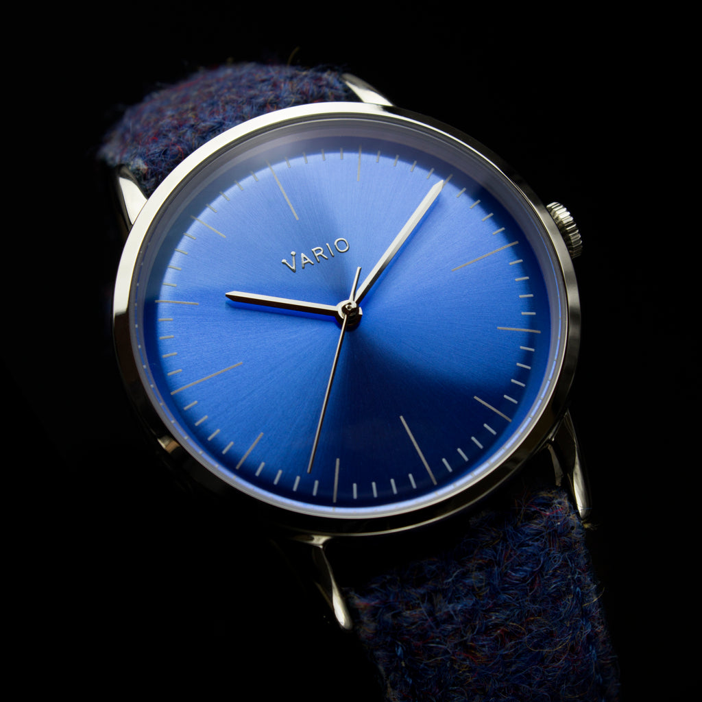 vario eclipse topaz blue watch handwound sweeping quartz