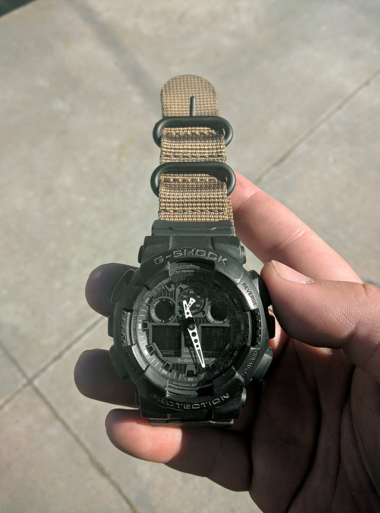 Casio G Shock Ga 100 With Vario S Ballistic Bronze Nylon