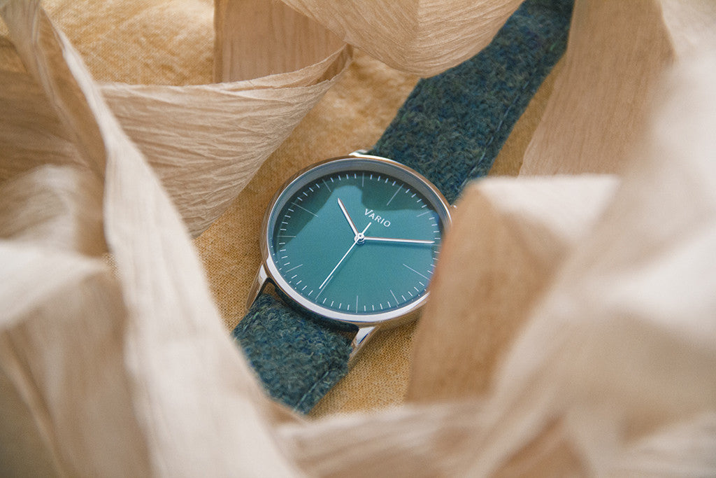 vario eclipse green dress watch with harris tweed strap