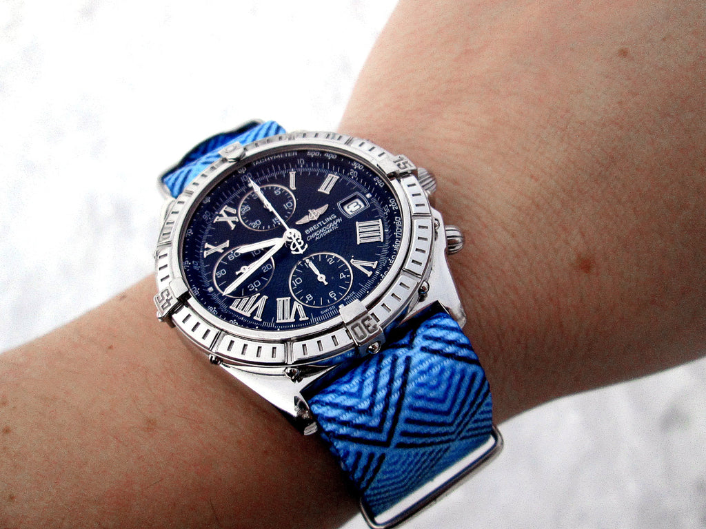breitling chronograph watch on vario sky pyramid nato strap