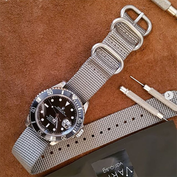 rolex watch with ballistic nylong watch strap