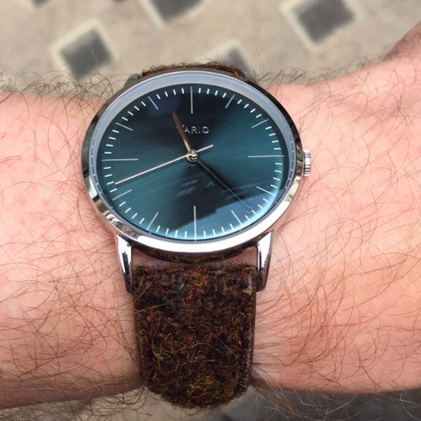 vario eclipse dress watch green dial brown tweed strap