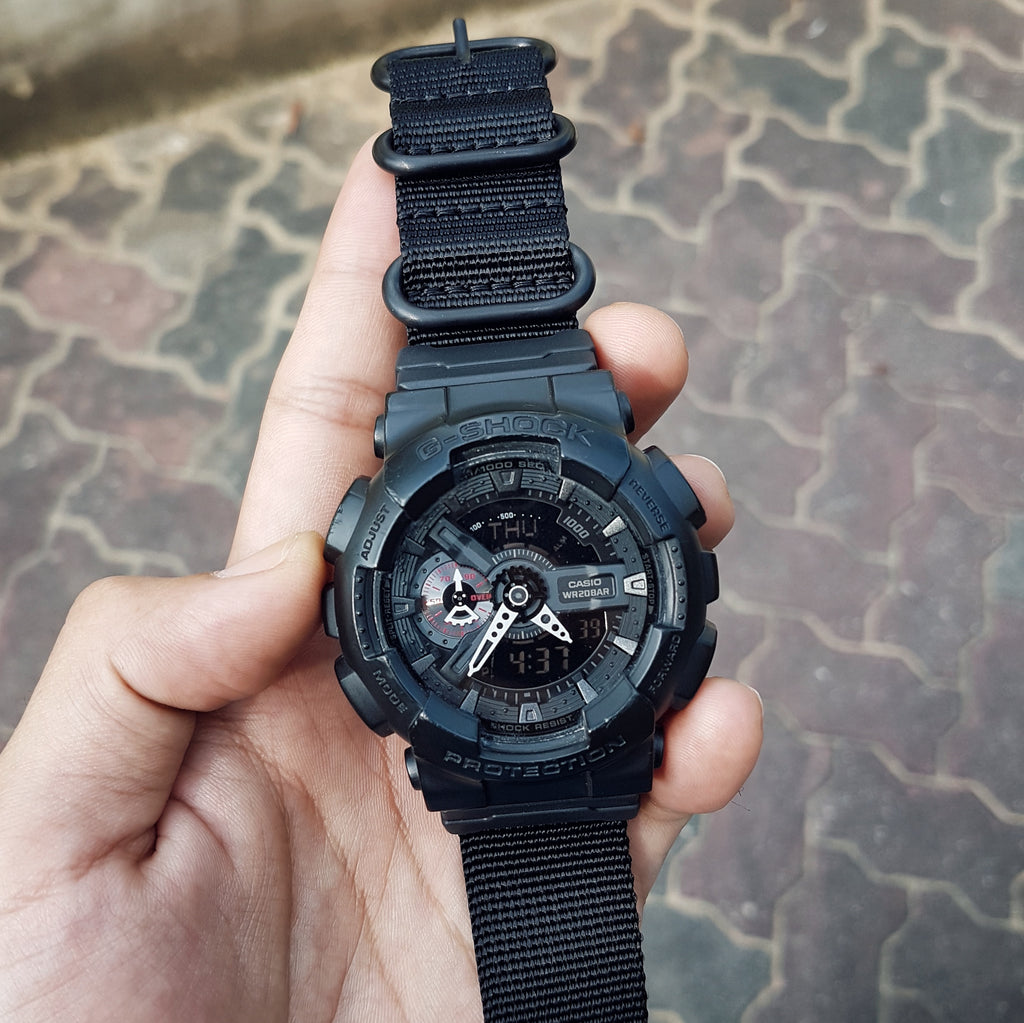gshock with vario strap and casio adapter