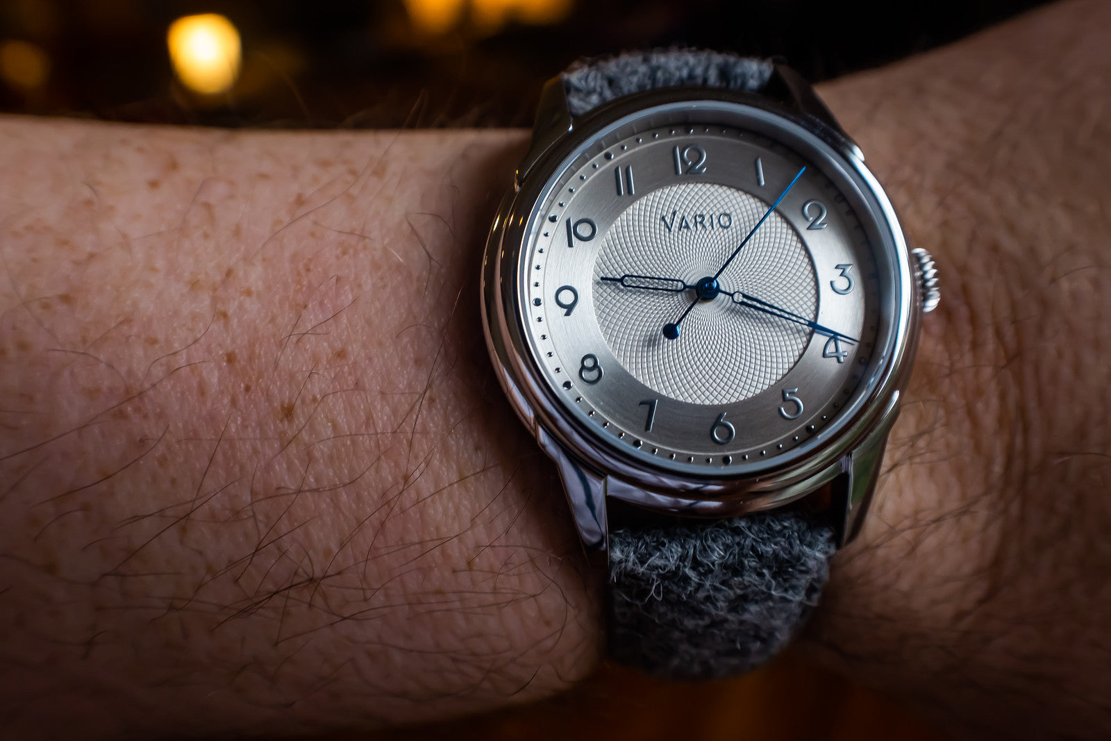 vario art deco watch on wrist