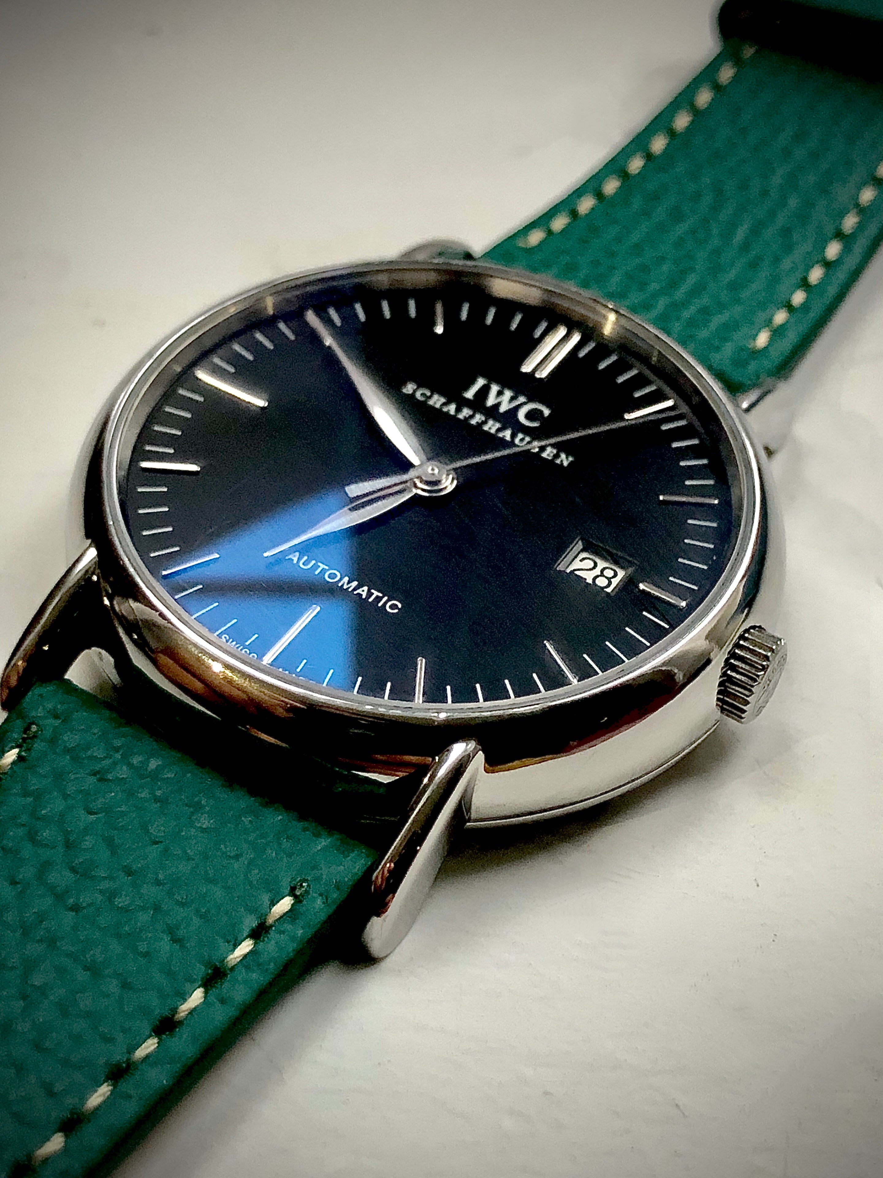 iwc watch with vario leather watch band