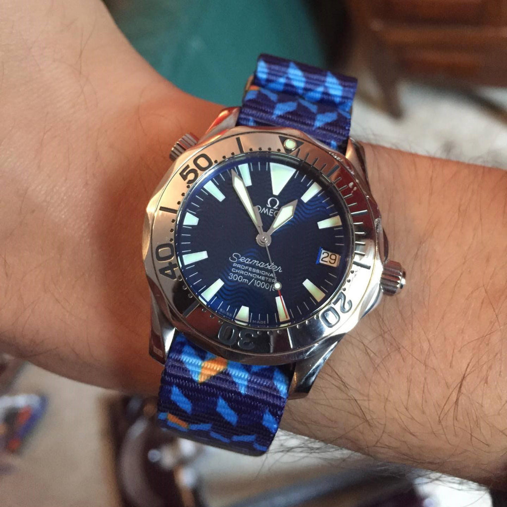 omega seamaster on vario ocean chevron graphic nato strap