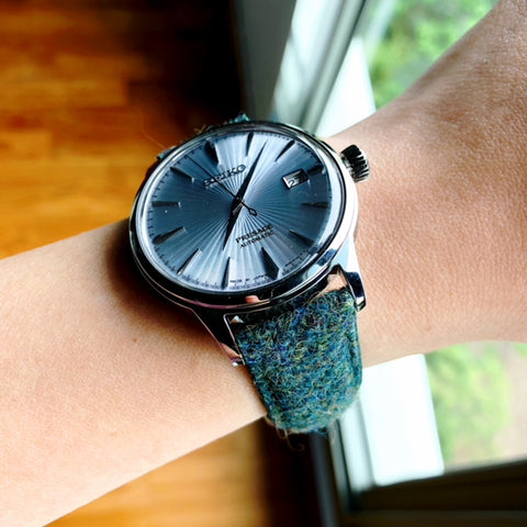 seiko cocktail presage with vario harris tweed strap