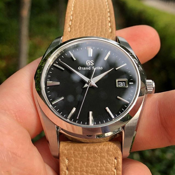 grand seiko on vario italian leather watch strap