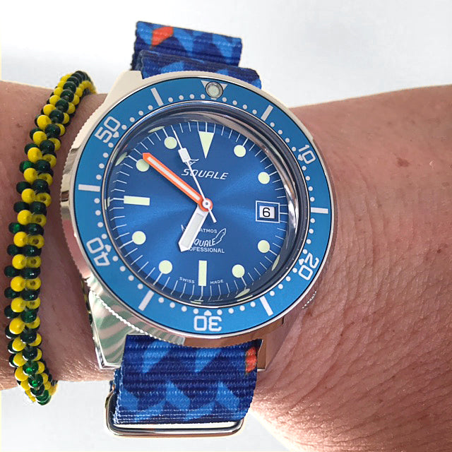 ocean chevron nato strap with squale watch