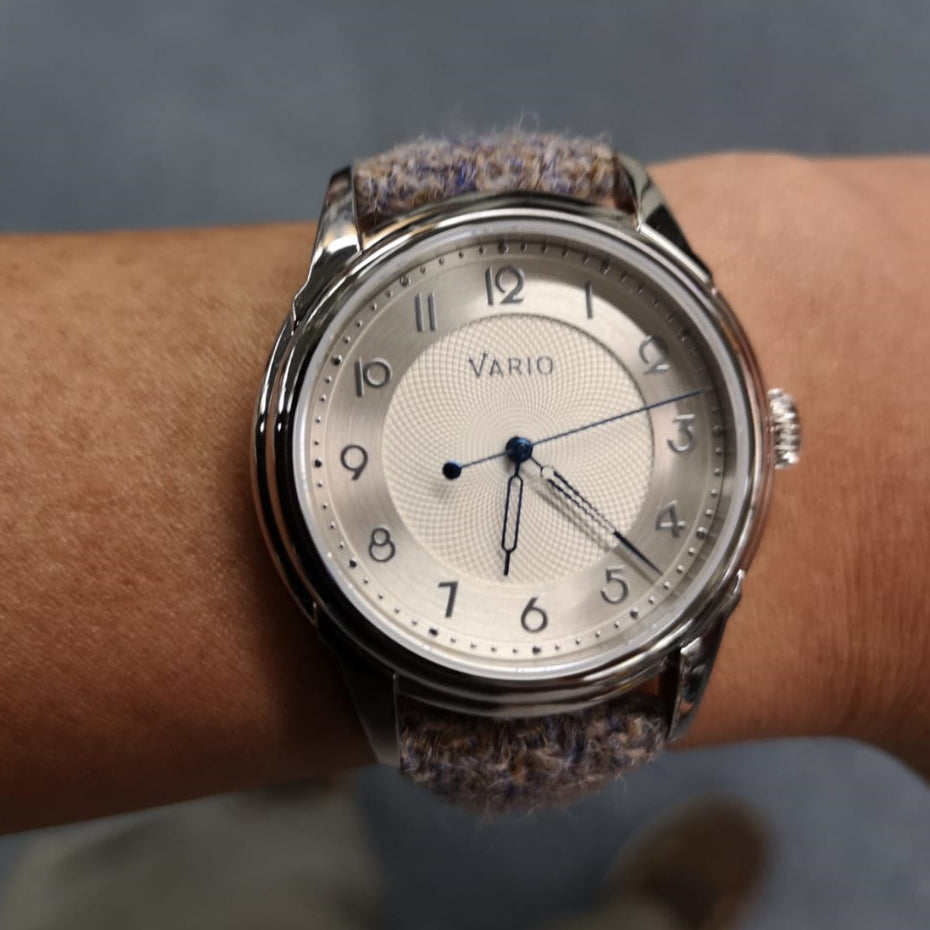 vario empire silver with harris tweed watch strap