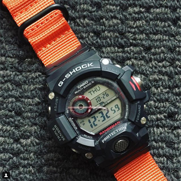 gshock watch with vario watch strap . photo by perth watch channel
