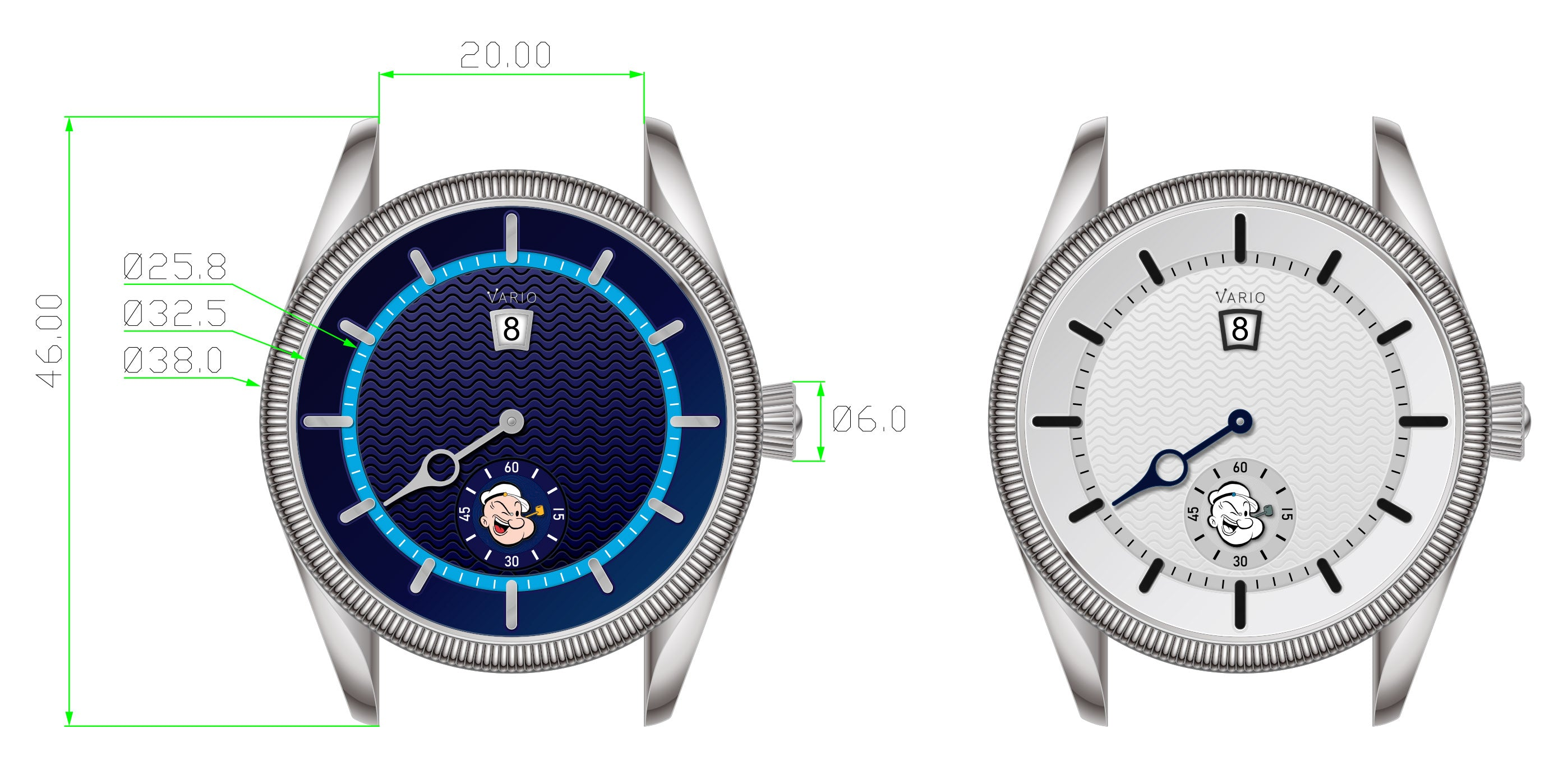 vario nautical 38 mm dresswatch met popeye-kop