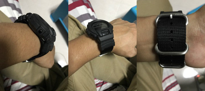 g-shock dw6900 on vario ballistic nylon strap and casio adapter
