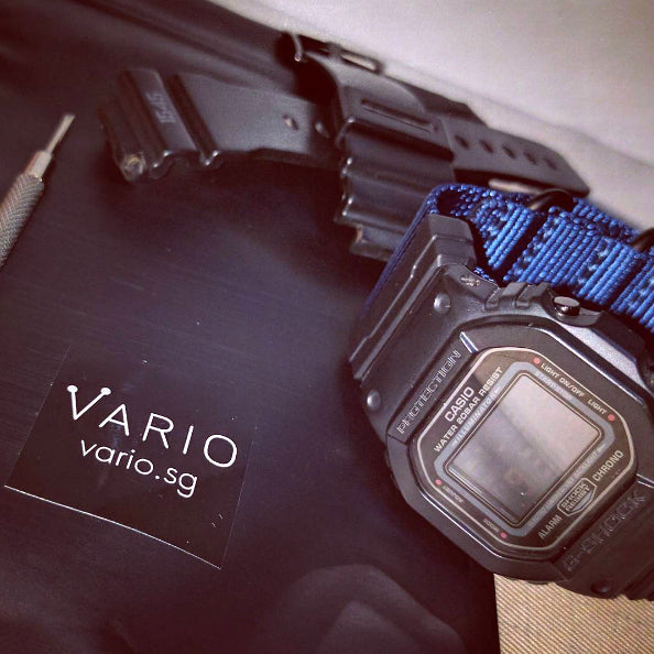 g-shock dw5600 with vario ballistic nylon and nato adapter