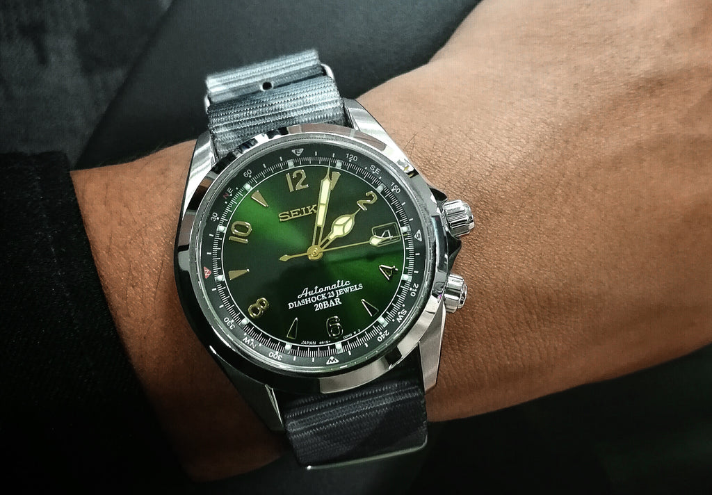 seiko sarb17 alpinist on vario graphic nato watch strap