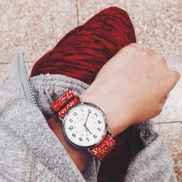 vario orange tangy printed nato strap on timex weekender