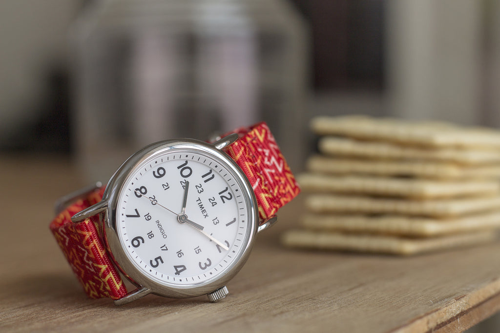 vario orange tangy printed nato strap with timex weekender