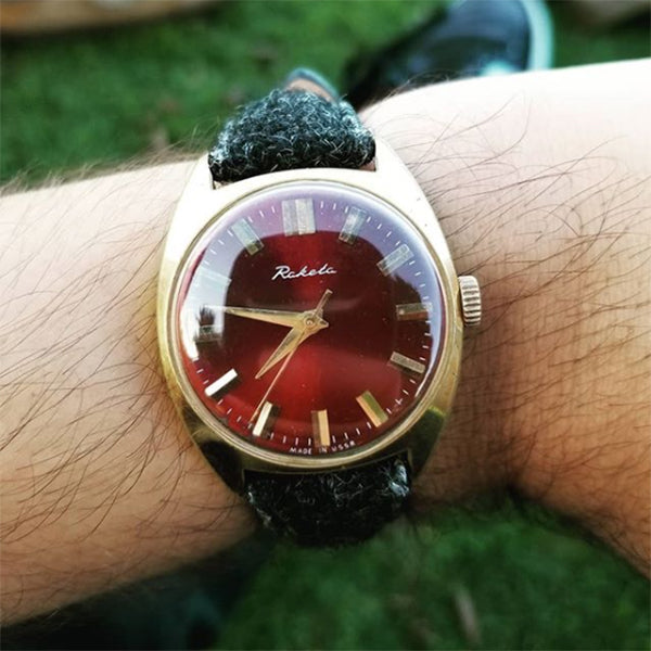 raketa watch with vario harris tweed strap