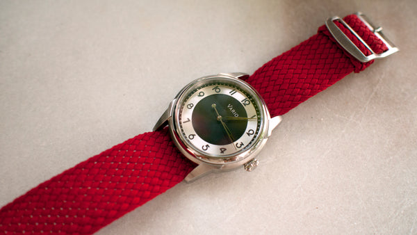 vario art deco watch prototype with perlon strap
