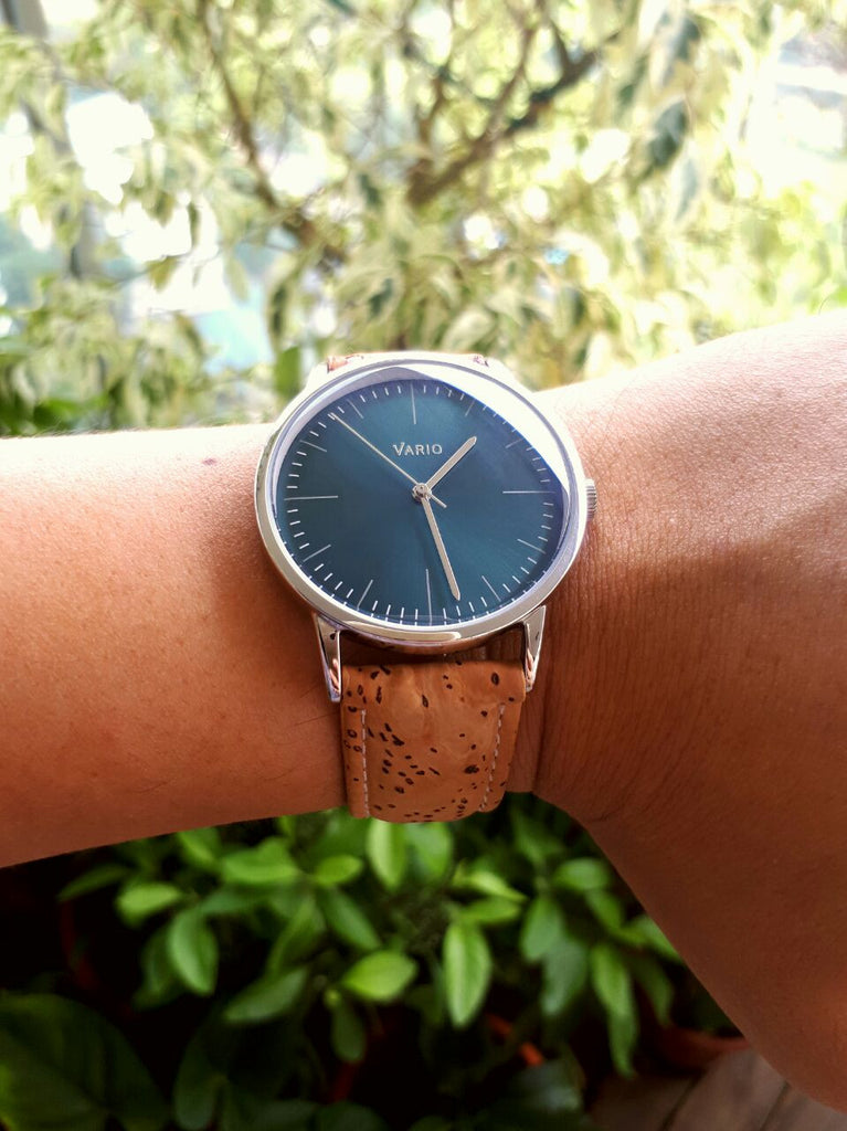 vario eclipse watch with vegan friendly cork strap