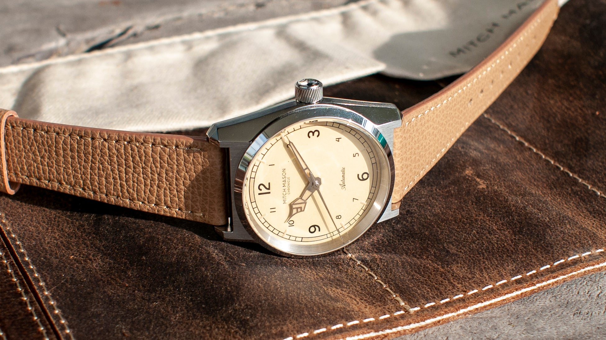 mitch mason chronicle watch on vario italian leather watch band