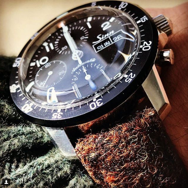 We think this Sinn watch paired well with our Harris Tweed strap. What do you think? Photo by @watch_dad