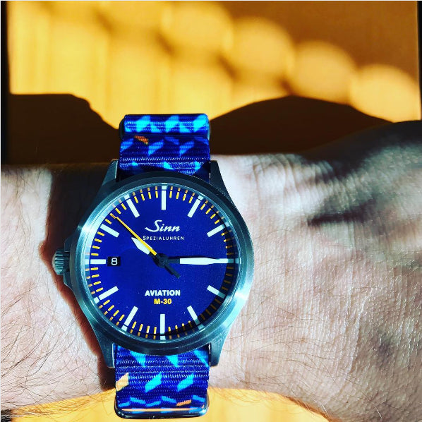 sinn watch on ocean chevron graphic nato strap by #varioeveryday member @watch_dad